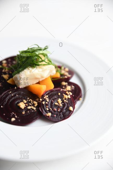 Gourmet beet dish served in a restaurant