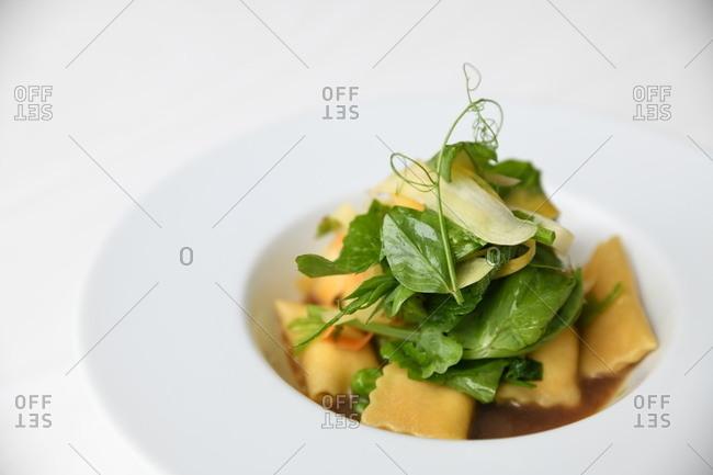 Small gourmet pasta dish close up