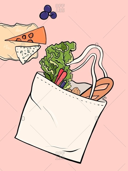 Canvas bag with bread, vegetables, fruits and cheese is lying on the table