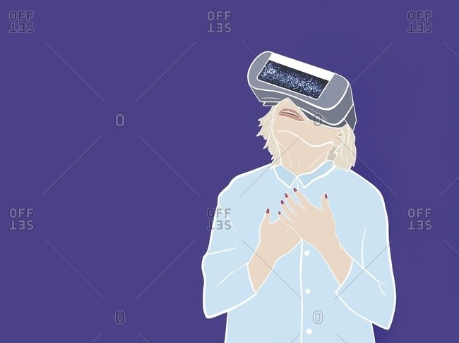 Elderly woman is standing in virtual reality glasses with her arms folded on her chest
