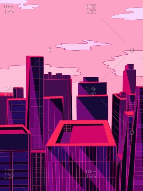 Dawn in city of skyscrapers Illustration in comics style