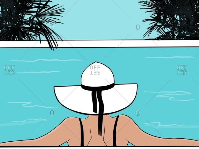 Woman in a big white hat is relaxing on the swimming pool Back view