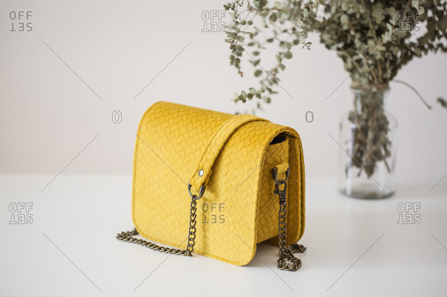 Studio shot of a yellow handbag on a white background with dry flowers