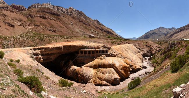 Puente del Inca natural bridge of travertine, near Mendoza, on Argentine side of Libertadores Pass over Andes, Argentina, South America