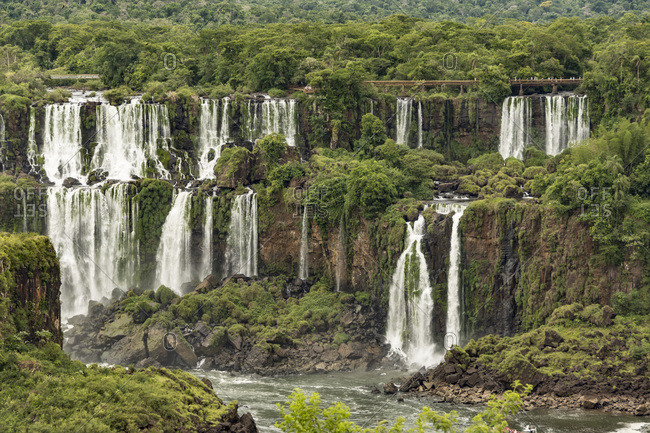 Iguazu Falls, Brazil, looking across to Argentinian falls, UNESCO World Heritage Site, Brazil, South America