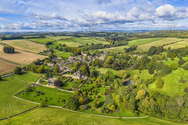 Aerial view over the village of Upper Slaughter in the Cotswolds, Gloucestershire, England, United Kingdom, Europe
