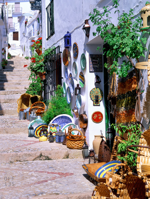 April 20, 2020: Pathway in village, Frigiliana, Andalusia, Costa del Sol, Spain, Mediterranean, Europe