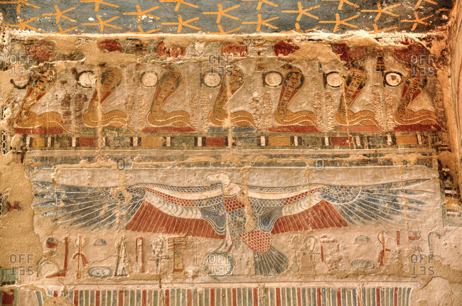 March 21, 2020: Reliefs, Chapel of Anubis, Hatshepsut Mortuary Temple (Deir el-Bahri), UNESCO World Heritage Site, Luxor, Thebes, Egypt, North Africa, Africa
