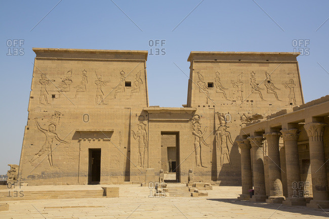 March 15, 2020: East Colonnade (right), The First Pylon, Temple of Isis, UNESCO World Heritage Site, Philae Island, Aswan, Nubia, Egypt, North Africa, Africa