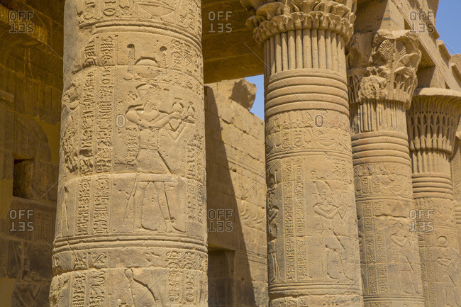 March 15, 2020: West Colonnade, Temple of Isis, UNESCO World Heritage Site, Philae Island, Aswan, Nubia, Egypt, North Africa, Africa