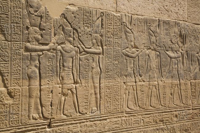 March 15, 2020: Reliefs, Temple of Arsnuphis, Temple of Isis, UNESCO World Heritage Site, Philae Island, Aswan, Nubia, Egypt, North Africa, Africa
