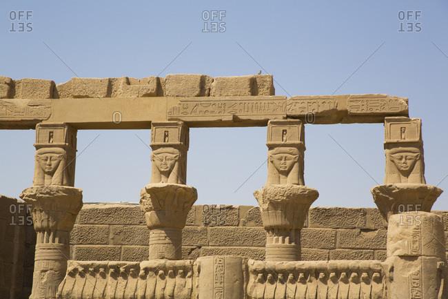 March 15, 2020: Goddess Hathor Columns, Vestibule of Nectanebo, Temple of Isis, UNESCO World Heritage Site, Philae Island, Aswan, Nubia, Egypt, North Africa, Africa