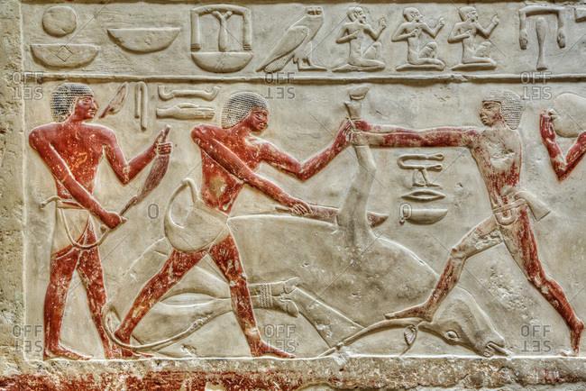 March 5, 2020: Reliefs, Mastaba of Idut, Step Pyramid Complex, UNESCO World Heritage Site, Saqqara; Egypt, North Africa, Africa