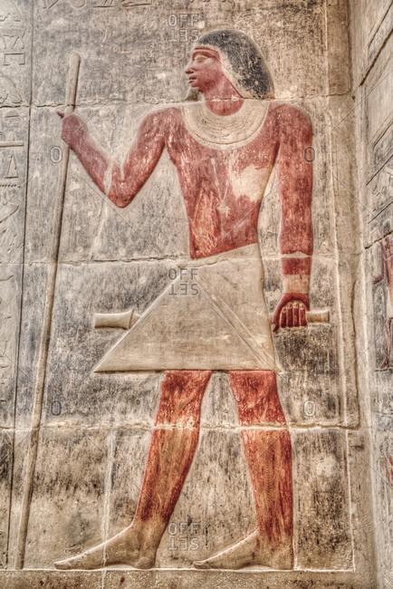 March 5, 2020: Reliefs, Mastaba of Kagemni, Necropolis of Saqqara, UNESCO World Heritage Site, Saqqara, Egypt, North Africa, Africa