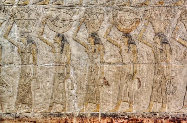 March 5, 2020: Reliefs, Mastaba of Ankh-Ma-Hor, Necropolis of Saqqara, UNESCO World Heritage Site, Saqqara, Egypt, North Africa, Africa