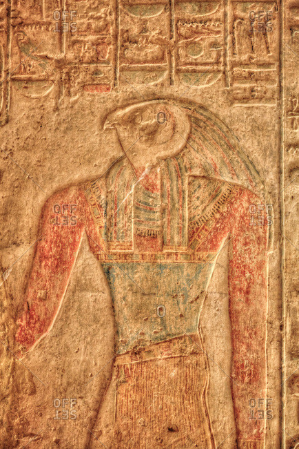 March 15, 2020: The God Horus, Bas Relief, Beit al-Wali Temple, Kalabsha, UNESCO World Heritage Site, near Aswan, Nubia, Egypt, North Africa, Africa