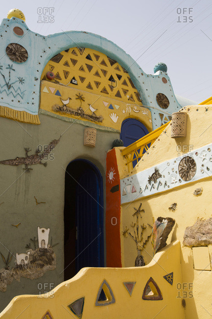 March 14, 2020: Painted Buildings, Nagaa Suhayi Gharb, Nubian Village, Aswan, Egypt, North Africa, Africa