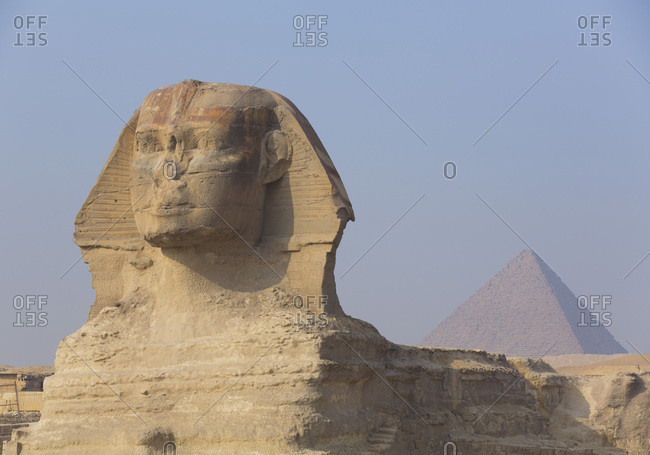 The Great Sphinx of Giza, Pyramid of Mycerinus in the background, Great Pyramids of Giza, UNESCO World Heritage Site, Giza, Egypt, North Africa, Africa