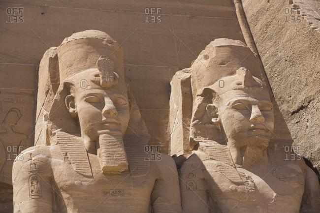 March 8, 2020: Ramses II statues, Ramses II Temple, UNESCO World Heritage Site, Abu Simbel, Nubia, Egypt, North Africa, Africa