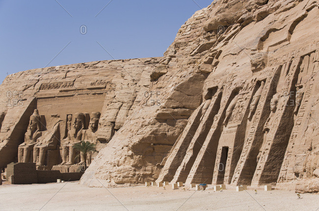 March 9, 2020: Temple of Hathor and Nefertari on right, Temple of Ramses II on the left, UNESCO World Heritage Site, Abu Simbel, Nubia, Egypt, North Africa, Africa
