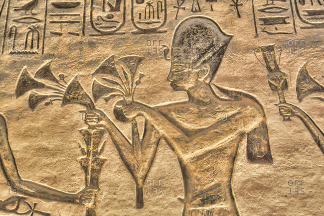 March 8, 2020: Ramses II, Reliefs, Temple of Hathor and Nefertari, UNESCO World Heritage Site, Abu Simbel, Nubia, Egypt, North Africa, Africa