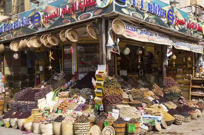 March 11, 2020: Spices for sale, Sharia el Souk (Bazaar), Aswan, Egypt, North Africa, Africa