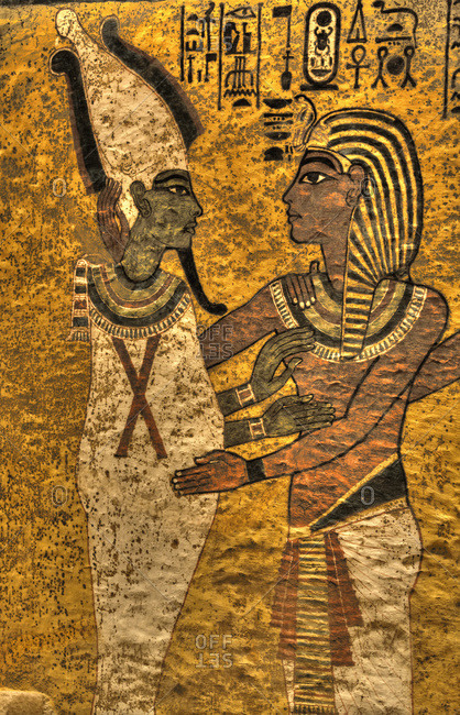 March 20, 2020: King Tut with Goddess Osiris, Tomb of Tutankhamun, KV62, Valley of the Kings, UNESCO World Heritage Site, Luxor, Thebes, Egypt, North Africa, Africa