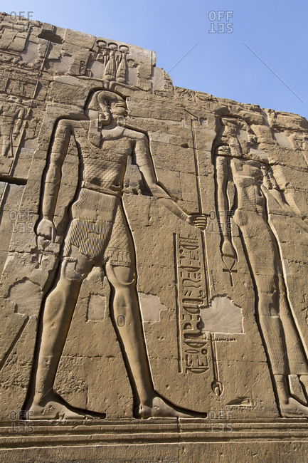 March 15, 2020: Wall Reliefs, Temple of Sobek and Haroeris, Kom Ombo, Egypt, North Africa, Africa
