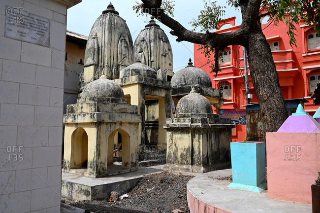 March 13, 2020: Cluster of small temples in the sacred temple town of Chandod where rivers Saraswati, Narmada and Orsang meet, Chandod, Gujarat, India, Asia