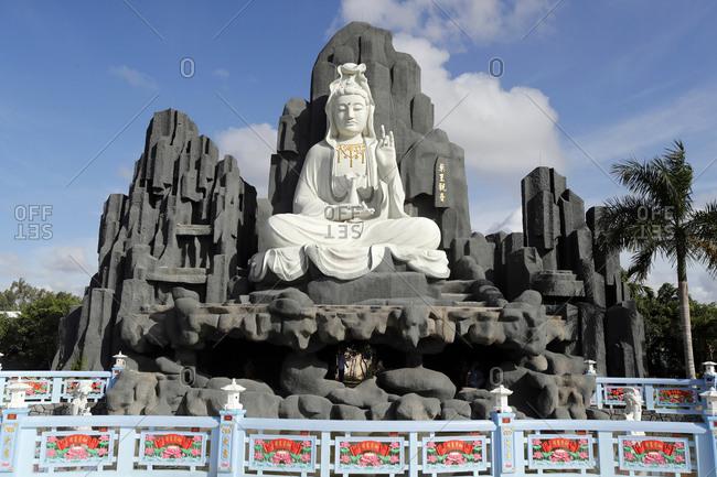 August 15, 2019: Bodhisattva Avalokitehvara, Guan Yin Statue (The Goddess of Mercy), Huynh Dao Buddhist Temple, Chau Doc, Vietnam, Indochina, Southeast Asia, Asia