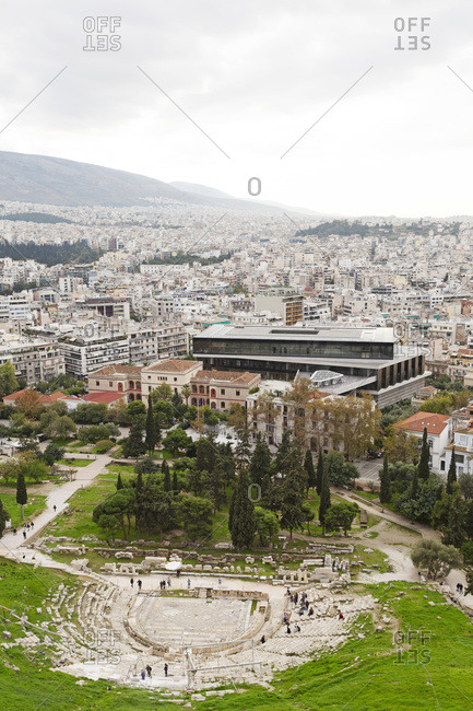 December 9, 2019: Cityscape including the Theatre of Dionysus and Acropolis Museum, Athens, Greece, Europe