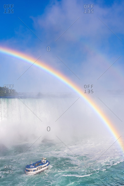 January 25, 2020: Double rainbow, Horseshoe Falls, Maid of the Mist, Niagara Falls, Ontario, Canada, North America