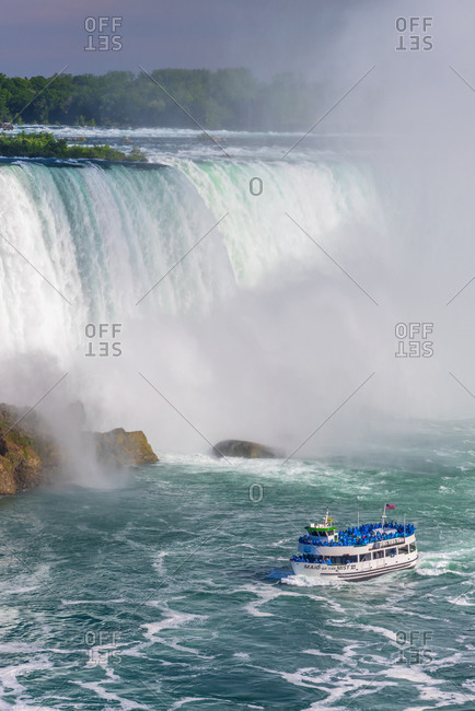 January 25, 2020: Horseshoe Falls, Maid of the Mist boat tour, Niagara Falls, Ontario, Canada, North America