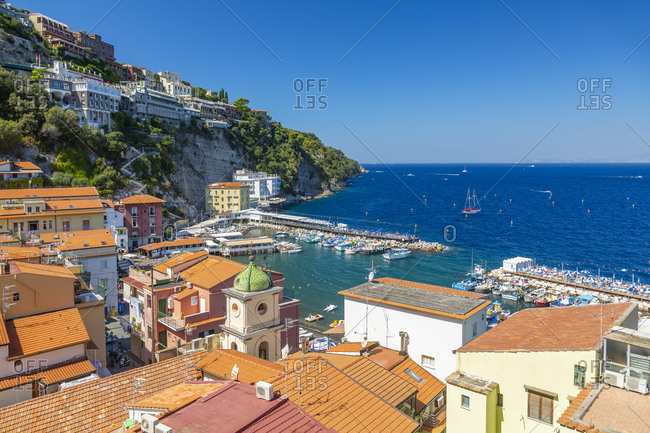 September 14, 2019: View of Spiaggia di Sorrento, public beach and harbor, Sorrento, Campania, Italy, Europe