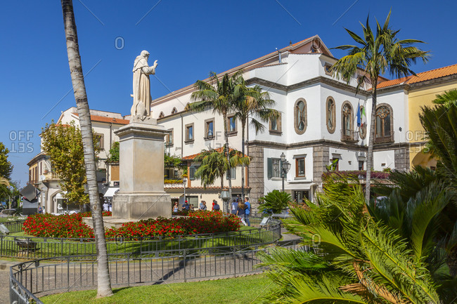 September 14, 2019: View of statue in Piazza Sant'Antonino, Sorrento, Campania, Italy, Europe