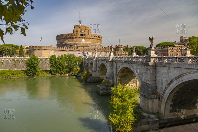 September 15, 2019: View of the Mausoleum of Hadrian (Saint Angelo's Castle), Parco Adriano, UNESCO World Heritage Site, Rome, Lazio, Italy, Europe