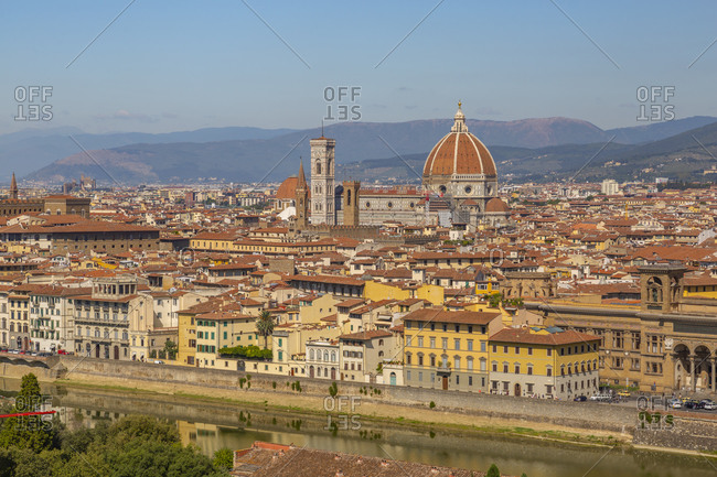 September 16, 2019: View of the Duomo and Florence seen from Piazzale Michelangelo Hill, Florence, Tuscany, Italy, Europe