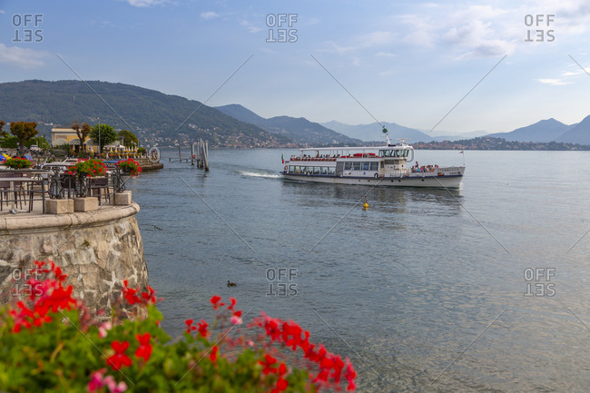 September 18, 2019: View of ferryboat on Lake Maggiore from Baveno, Lago Maggiore, Piedmont, Italian Lakes, Italy, Europe