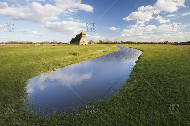 St. Thomas a Becket Church on Romney Marsh in afternoon sunlight, Fairfield, Kent, England, United Kingdom, Europe
