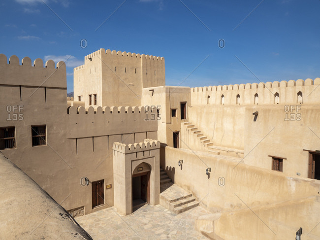 February 1, 2020: Inside the Nizwa Fort, Nizwa, Sultanate of Oman, Middle East