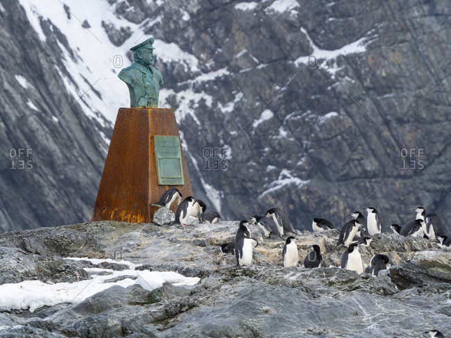 November 21, 2019: The statue of Piloto Pardo at Point Wild, Elephant Island, Antarctica, Polar Regions