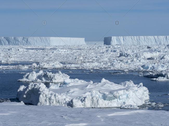 Sea ice, tabular icebergs, and brash ice in Erebus and Terror Gulf, Weddell Sea, Antarctica, Polar Regions