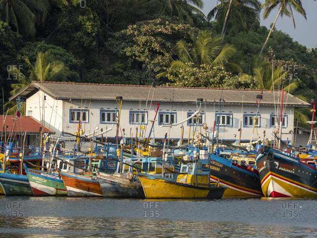 January 21, 2020: Commercial fishing boats line the dock in the port of Mirissa, Indian Ocean, Sri Lanka, Asia