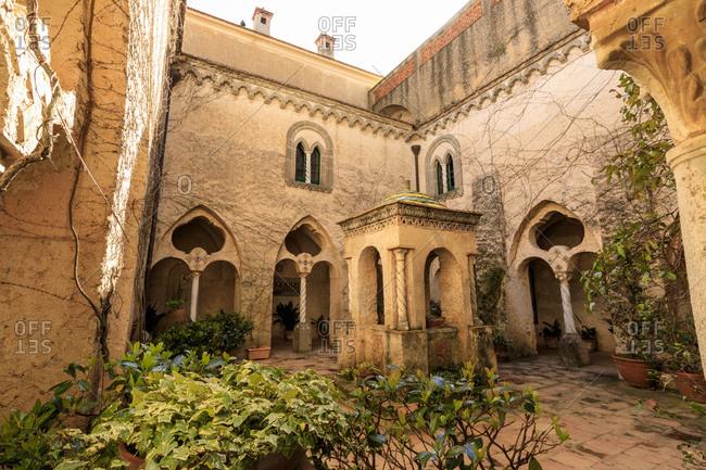 March 17, 2019: Cloister, stunning Garden of Villa Cimbrone in spring, Ravello, Amalfi Coast, UNESCO World Heritage Site, Campania, Italy, Europe