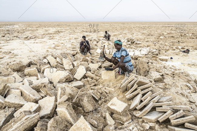 February 1, 2020: Miners working hard in the salt flat, Danakil Depression, Afar Region, Ethiopia, Africa