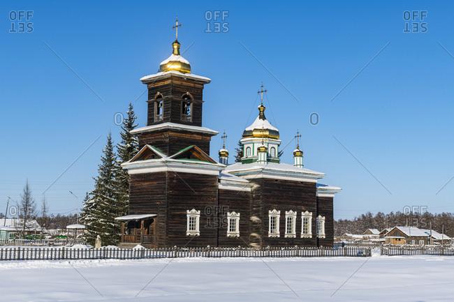 Wooden church, Cherkekhskiy regional museum, Road of Bones, Sakha Republic (Yakutia), Russia, Eurasia
