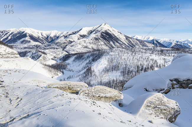 View over the Road of Bones, Sakha Republic (Yakutia), Russia, Eurasia
