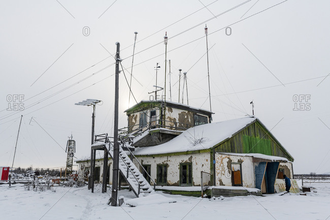 March 8, 2020: Old airport in Tomtor one of the cold spots on earth, Road of Bones, Sakha Republic (Yakutia), Russia, Eurasia