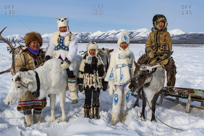 March 8, 2020: Evenk reindeer breeder family, Oymyakon, Sakha Republic (Yakutia), Russia, Eurasia