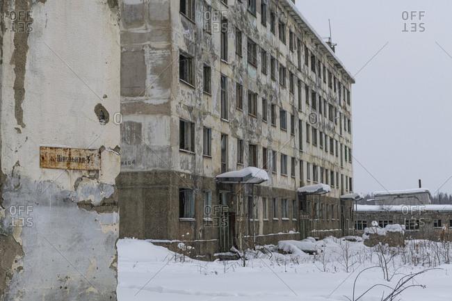 March 9, 2020: Abandoned mining city Kadykchan, Road of Bones, Magadan Oblast, Russia, Eurasia